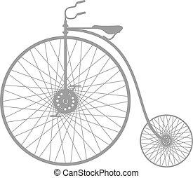 silhouette, vélo, vendange