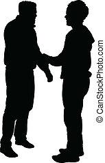 silhouette, vecteur, -, amis