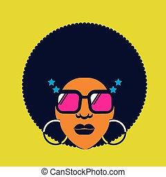silhouette, vecteur, couleur, disco, portrait, retro, femme, lunettes soleil, 70s, hairstyle.