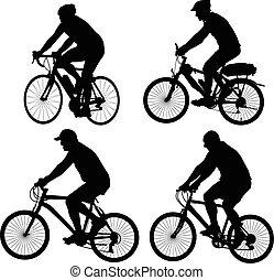 silhouette, vecteur, -, cyclistes