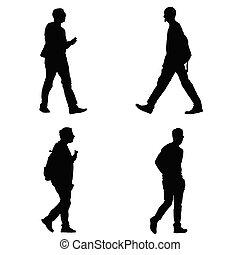 silhouette, vecteur, ensemble, homme