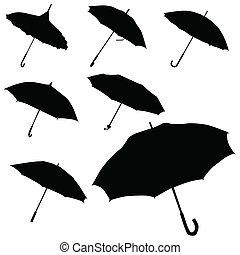 silhouette, vecteur, parapluie noir