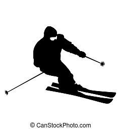 silhouette., vecteur, slope., bas, expédier, montagne, skieur, sport