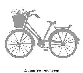 silhouette, vecteur, vélo