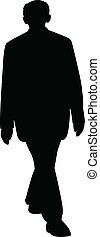 silhouette, vecto, homme, marche