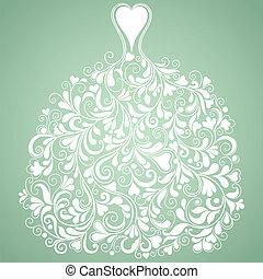 silhouette, vendange, vecteur, mariage, robe blanche