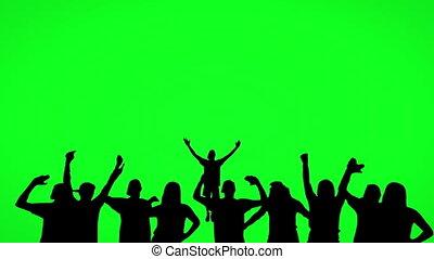 silhouette, vert, écran, gens, danse