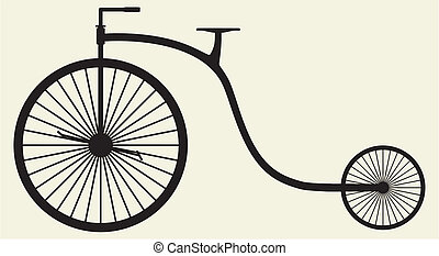 silhouette, vieille bicyclette