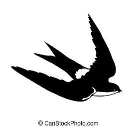 silhouette, voler, hirondelles, vecteur, fond, blanc