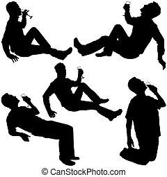 silhouettes, 2, -, boire
