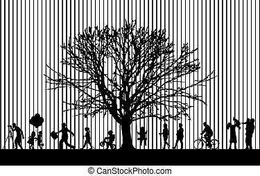 silhouettes, active., gens