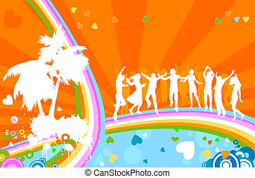 silhouettes, adultes, party;, jeune
