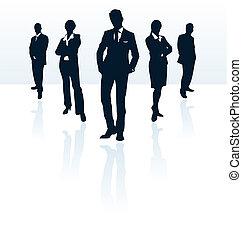 silhouettes affaires, vecteur, portfolio., woman., homme, mon, plus