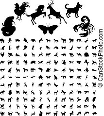 silhouettes, animal, paquet