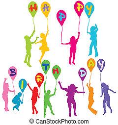 silhouettes, anniversaire, tenue, message, ballons, enfants, heureux