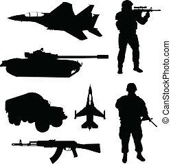 silhouettes, armée