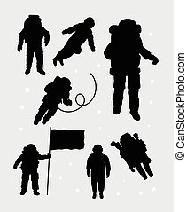 silhouettes, astronaute