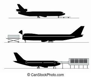 silhouettes, avion