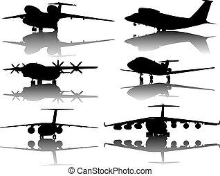 silhouettes, avions