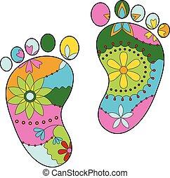 silhouettes, bébé, peint, pieds