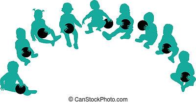 silhouettes, balle, -, jouer, enfants