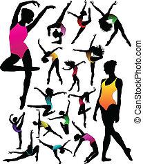 silhouettes, ballet, girl
