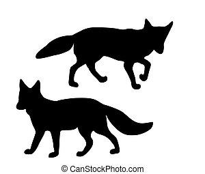 silhouettes, blanc, noir, deux, renards