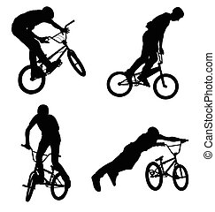 silhouettes, bmx, cycliste