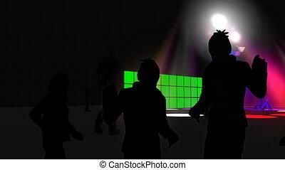 silhouettes, boîte nuit, danse