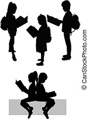 silhouettes, book., gens