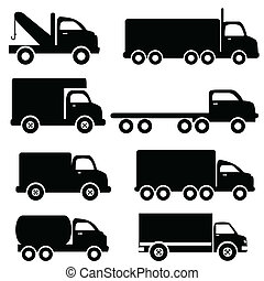silhouettes, camion