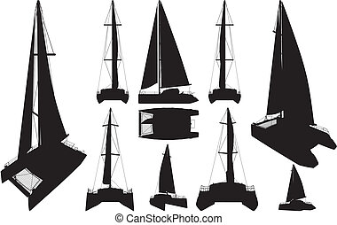 silhouettes, catamaran, bateau