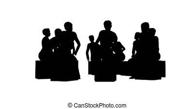 silhouettes, cercle blanc, gens arrière-plan