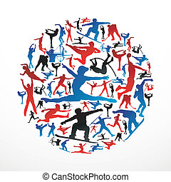 silhouettes, cercle, sports