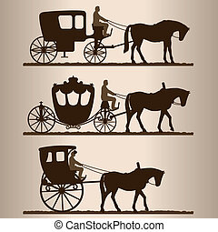 silhouettes, chariots