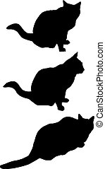 silhouettes, chat