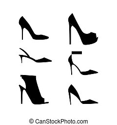 silhouettes, chaussures, icône