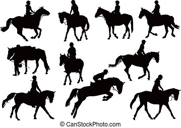 silhouettes, cheval, dix, cavaliers