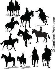 silhouettes., cheval, vecteur, cavalier, illustration