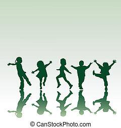 silhouettes, cinq, enfants