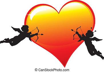 silhouettes, coeur, cupidon, deux