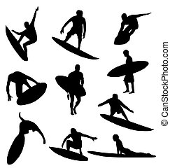 silhouettes, collection, surfeur