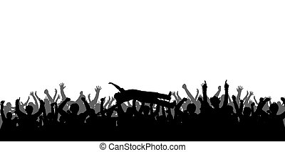 silhouettes, concert, gens