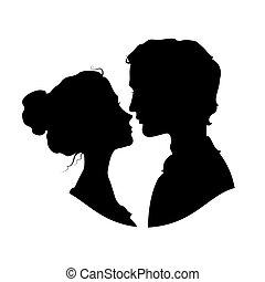 silhouettes, couple, aimer