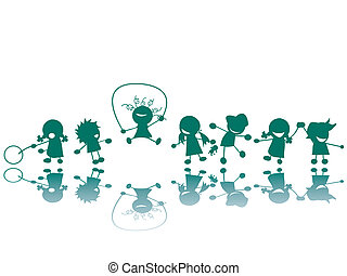 silhouettes, cour de récréation, enfants