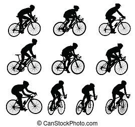 silhouettes, course, cyclistes