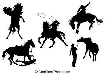 silhouettes, cowboys