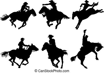 silhouettes, cowboys