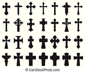 silhouettes, croix, différent