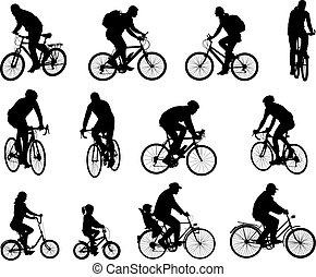 silhouettes, cyclistes, collection